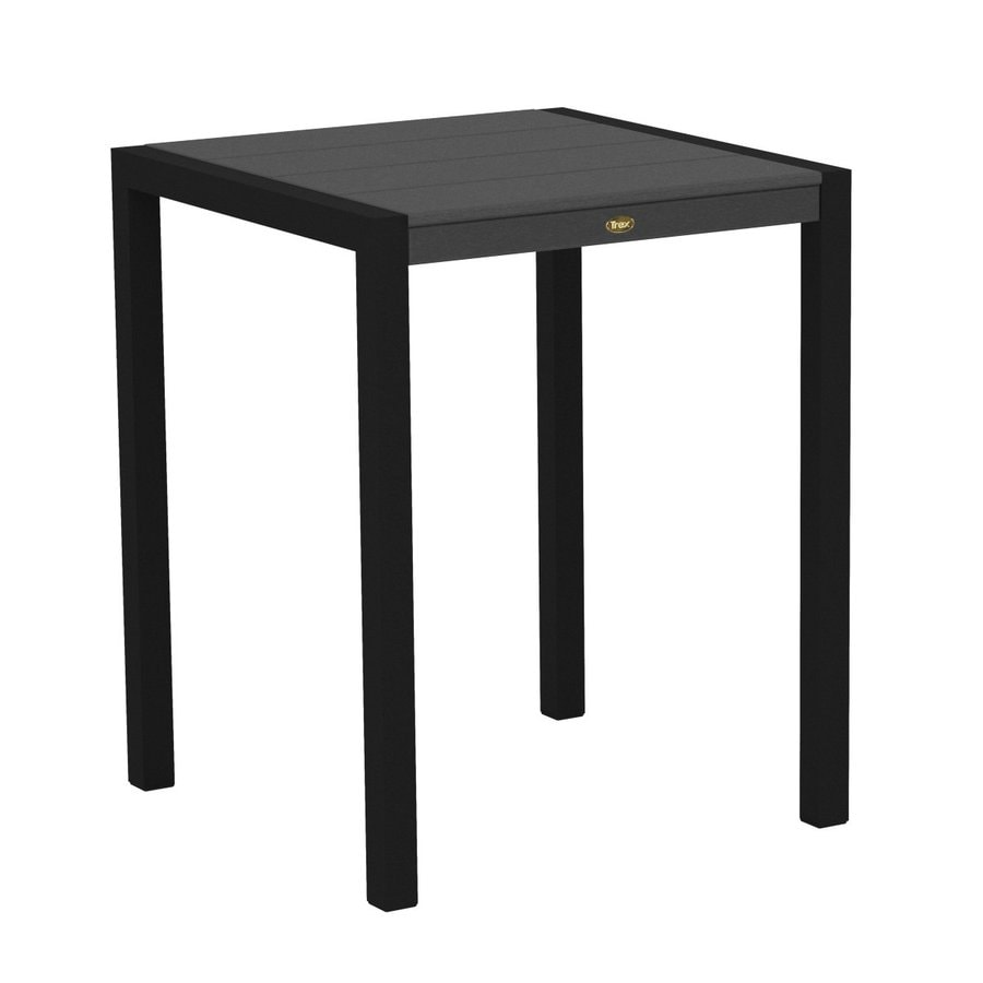 Trex Outdoor Furniture Surf City 29.75-in W x 29.75-in L Textured Black/Stepping Stone Square Aluminum Bistro Table