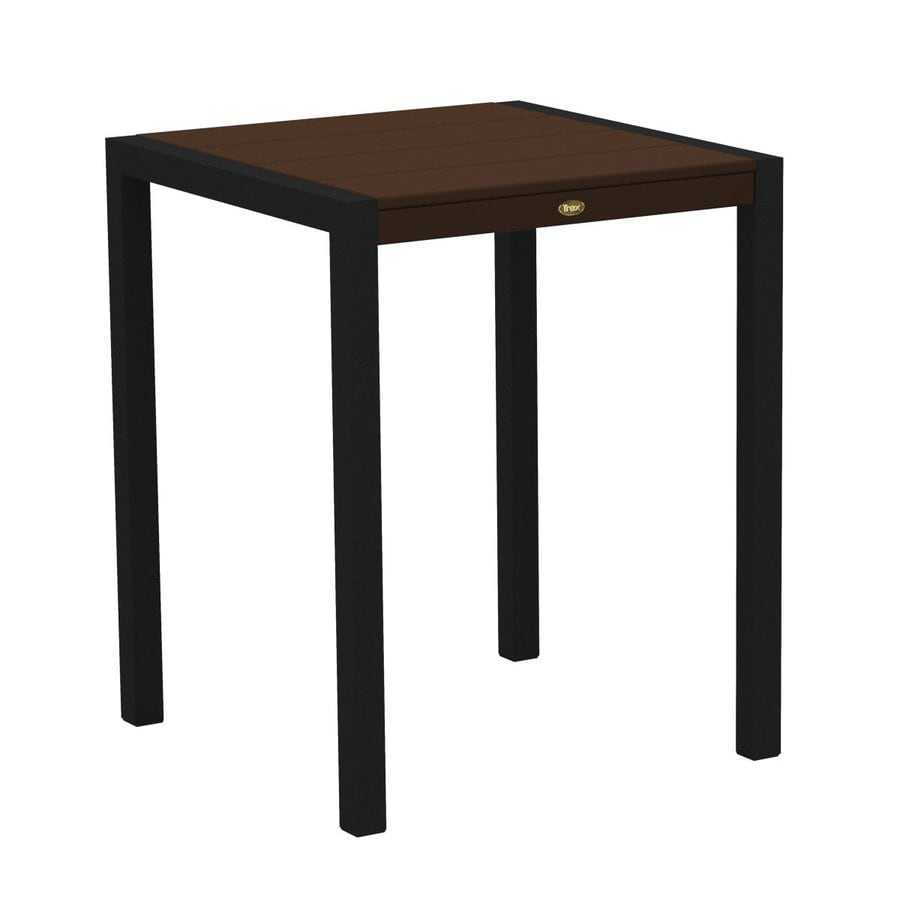 Trex Outdoor Furniture Surf City 29.75-in W x 29.75-in L Textured Black/Vintage Lantern Square Aluminum Bistro Table