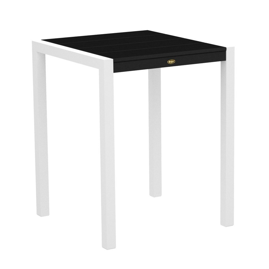 Trex Outdoor Furniture Surf City 29.75-in W x 29.75-in L Textured White/Charcoal Black Square Aluminum Bistro Table