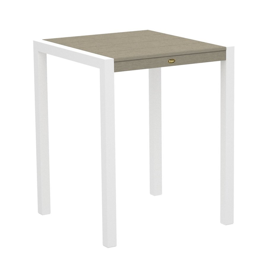 Trex Outdoor Furniture Surf City 29.75-in W x 29.75-in L Textured White/Sand Castle Square Aluminum Bistro Table