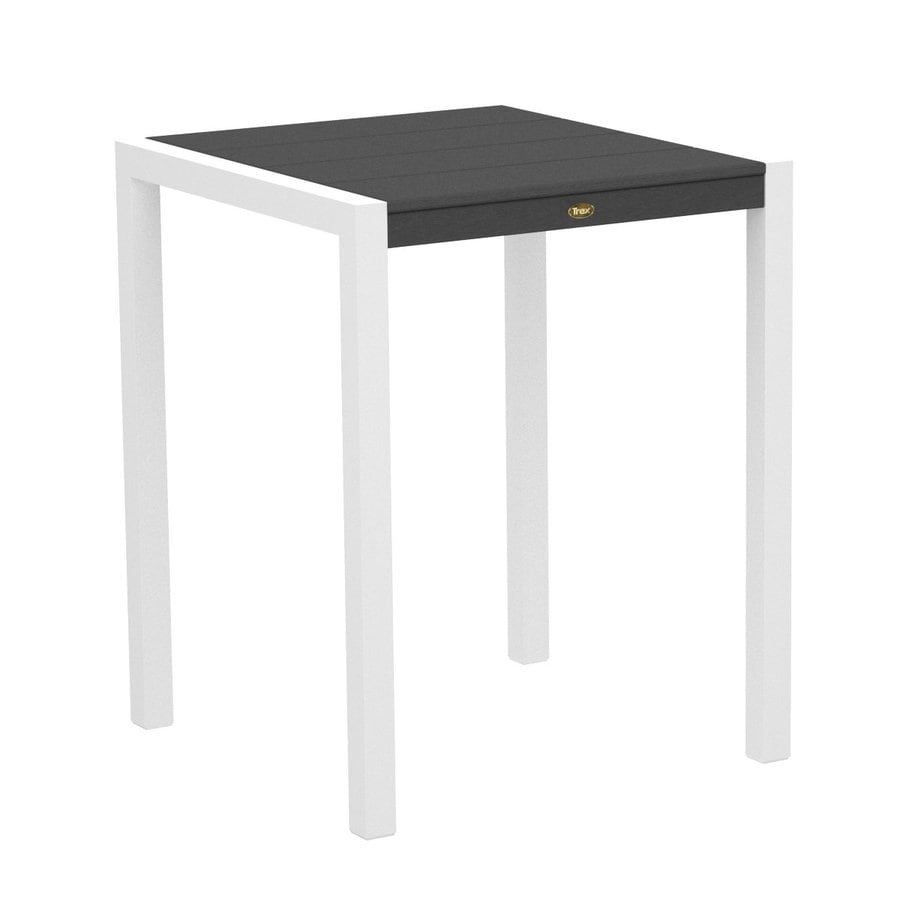 Trex Outdoor Furniture Surf City 29.75-in W x 29.75-in L Textured White/Stepping Stone Square Aluminum Bistro Table