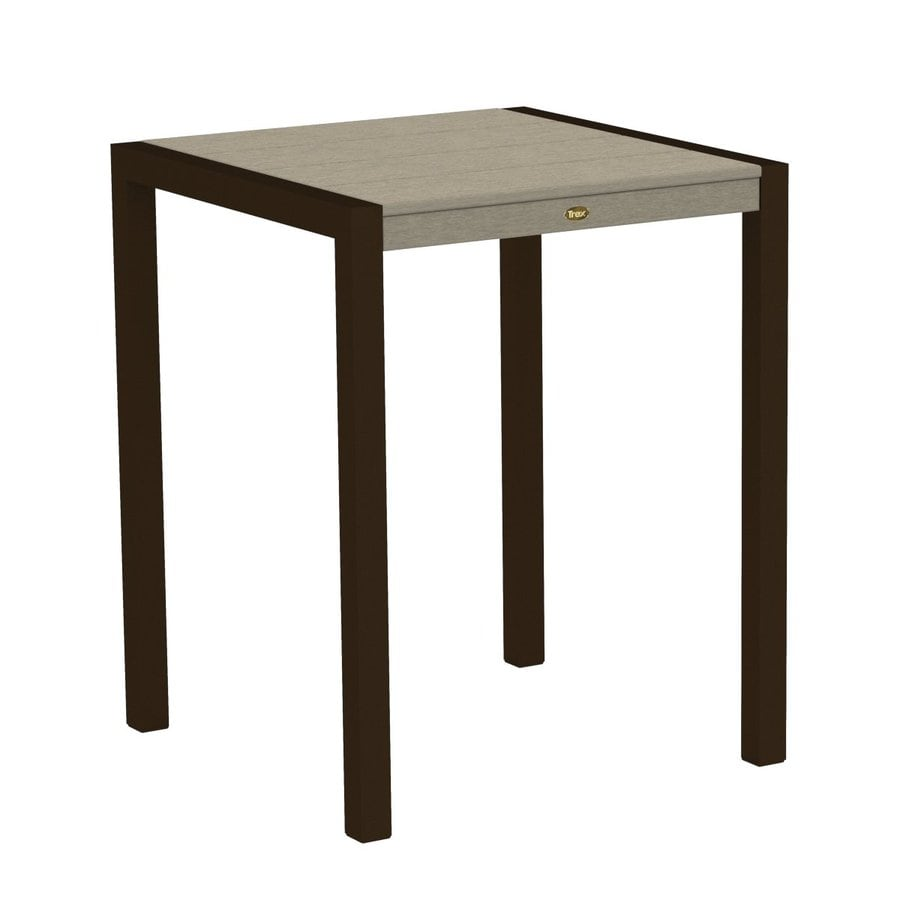 Trex Outdoor Furniture Surf City 29.75-in W x 29.75-in L Textured Bronze/Sand Castle Square Aluminum Bistro Table