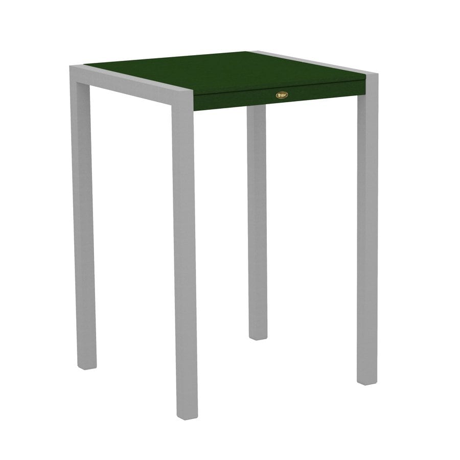 Trex Outdoor Furniture Surf City 29.75-in W x 29.75-in L Textured Silver/Rainforest Canopy Square Aluminum Bistro Table