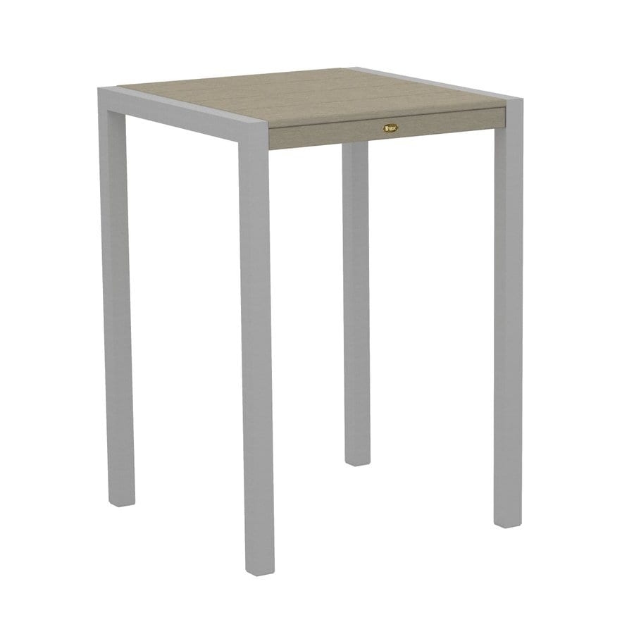 Trex Outdoor Furniture Surf City 29.75-in W x 29.75-in L Textured Silver/Sand Castle Square Aluminum Bistro Table