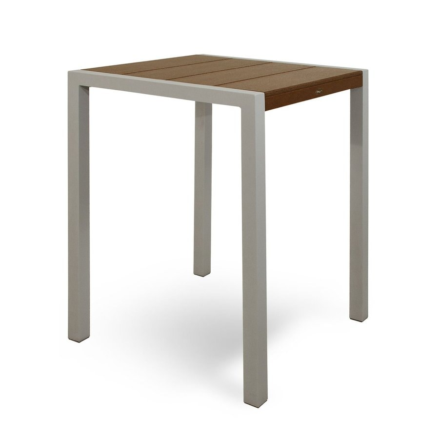 Trex Outdoor Furniture Surf City 29.75-in W x 29.75-in L Textured Silver/Tree House Square Aluminum Bistro Table