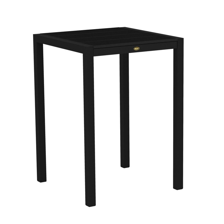 Trex Outdoor Furniture Surf City 29.75-in W x 29.75-in L Textured Black/Charcoal Black Square Aluminum Bistro Table