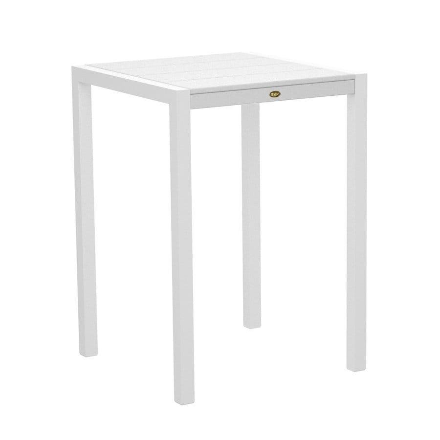 Trex Outdoor Furniture Surf City 29.75-in W x 29.75-in L Textured White/Classic White Square Aluminum Bistro Table