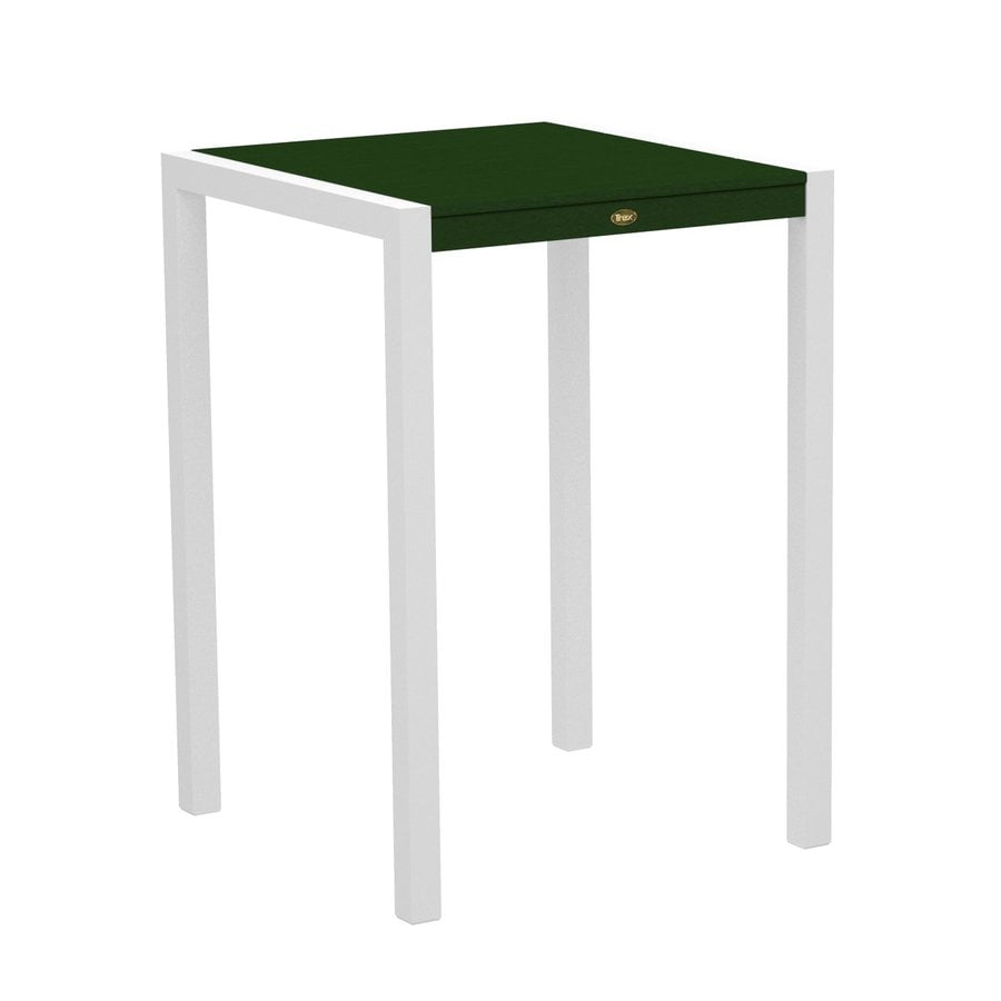 Trex Outdoor Furniture Surf City 29.75-in W x 29.75-in L Textured White/Rainforest Canopy Square Aluminum Bistro Table