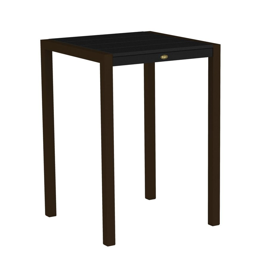 Trex Outdoor Furniture Surf City 29.75-in W x 29.75-in L Textured Bronze/Charcoal Black Square Aluminum Bistro Table
