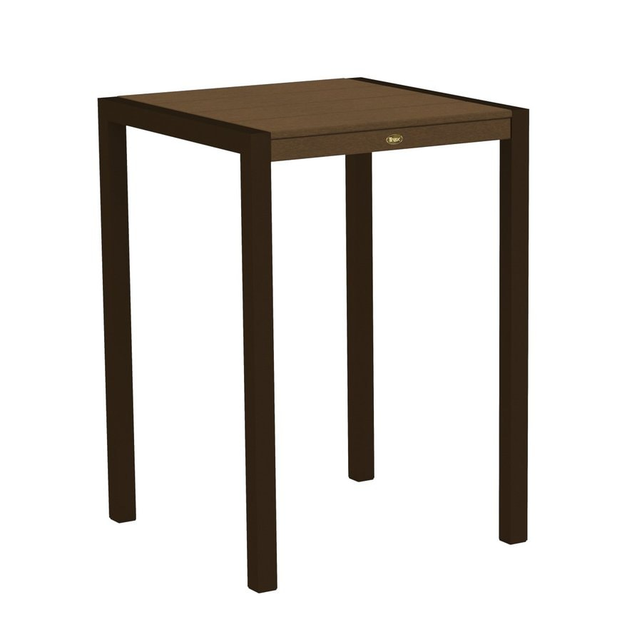 Trex Outdoor Furniture Surf City 29.75-in W x 29.75-in L Textured Bronze/Tree House Square Aluminum Bistro Table