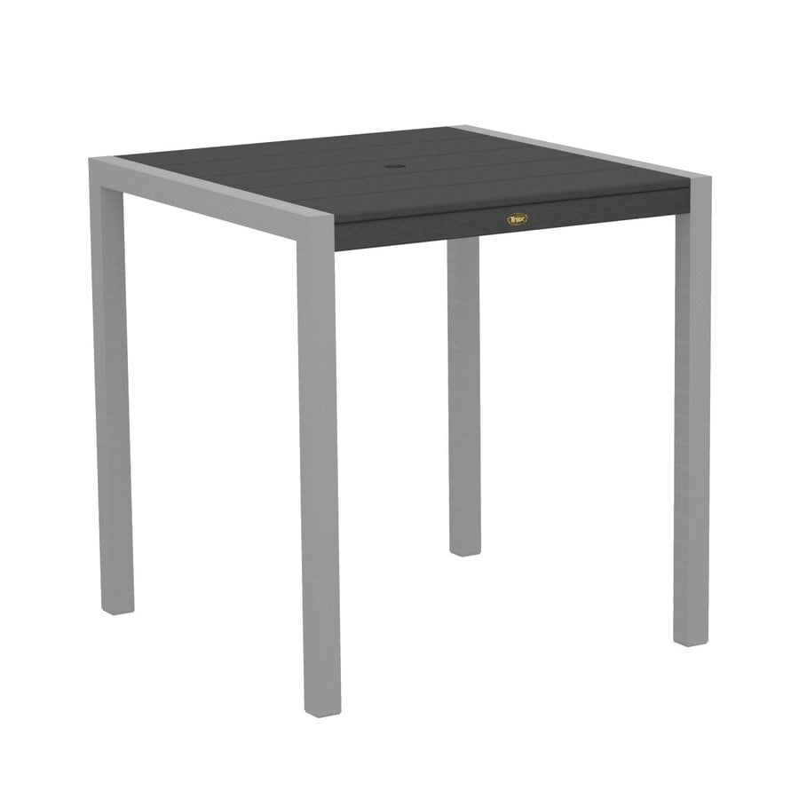Trex Outdoor Furniture Surf City 35.18-in W x 35.18-in L Textured Silver/Stepping Stone Square Aluminum Bar Table