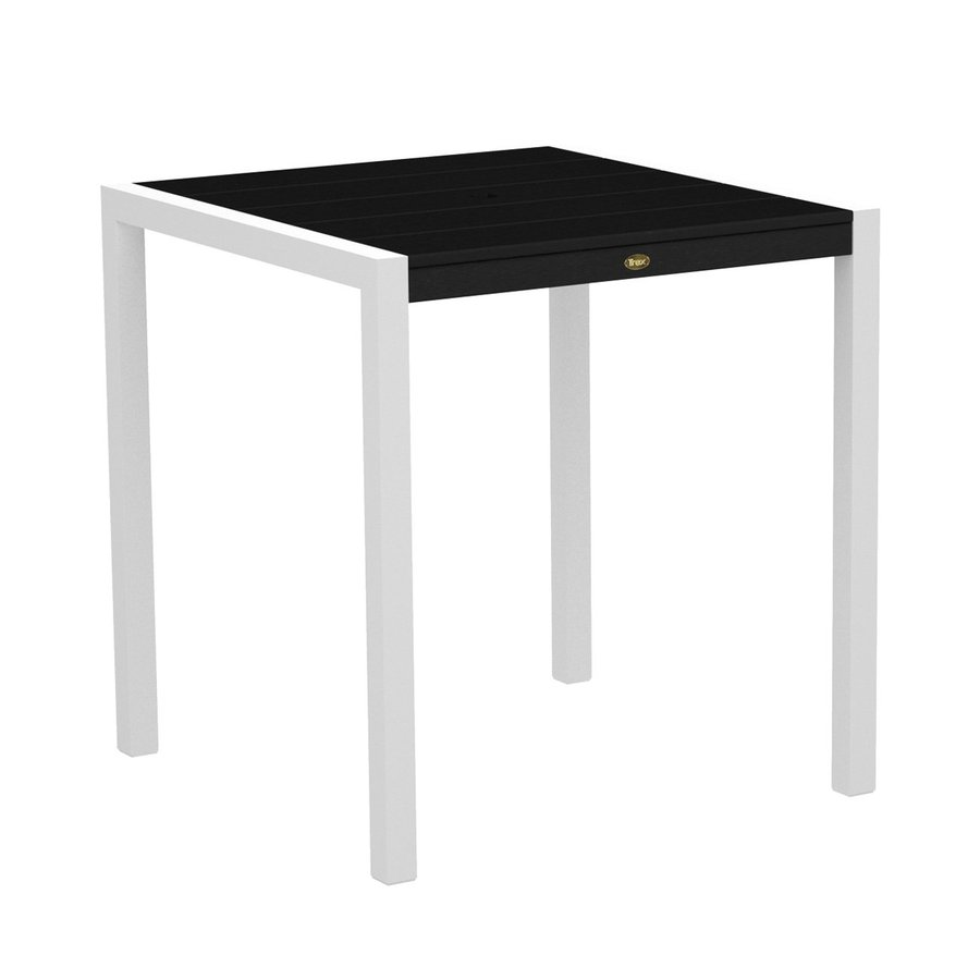 Trex Outdoor Furniture Surf City 35.18-in W x 35.18-in L Textured White/Charcoal Black Square Aluminum Bar Table
