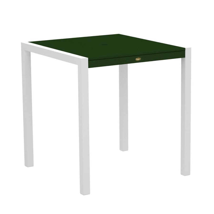 Trex Outdoor Furniture Surf City 35.18-in W x 35.18-in L Textured White/Rainforest Canopy Square Aluminum Bar Table