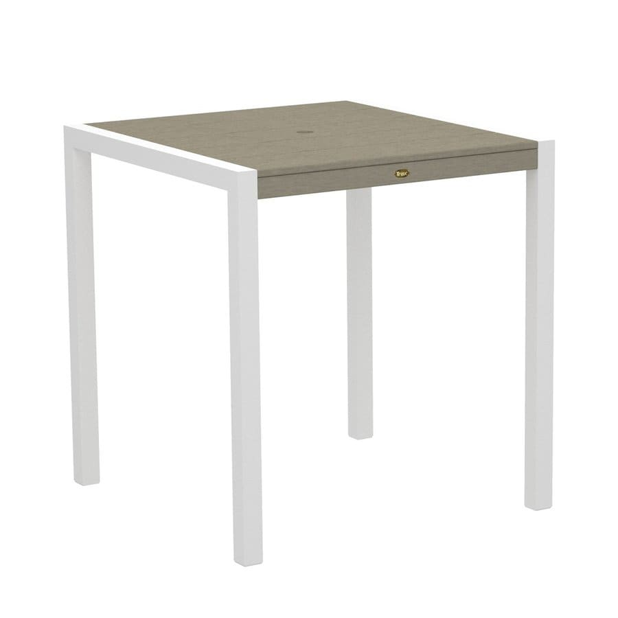 Trex Outdoor Furniture Surf City 35.18-in W x 35.18-in L Textured White/Sand Castle Square Aluminum Bar Table