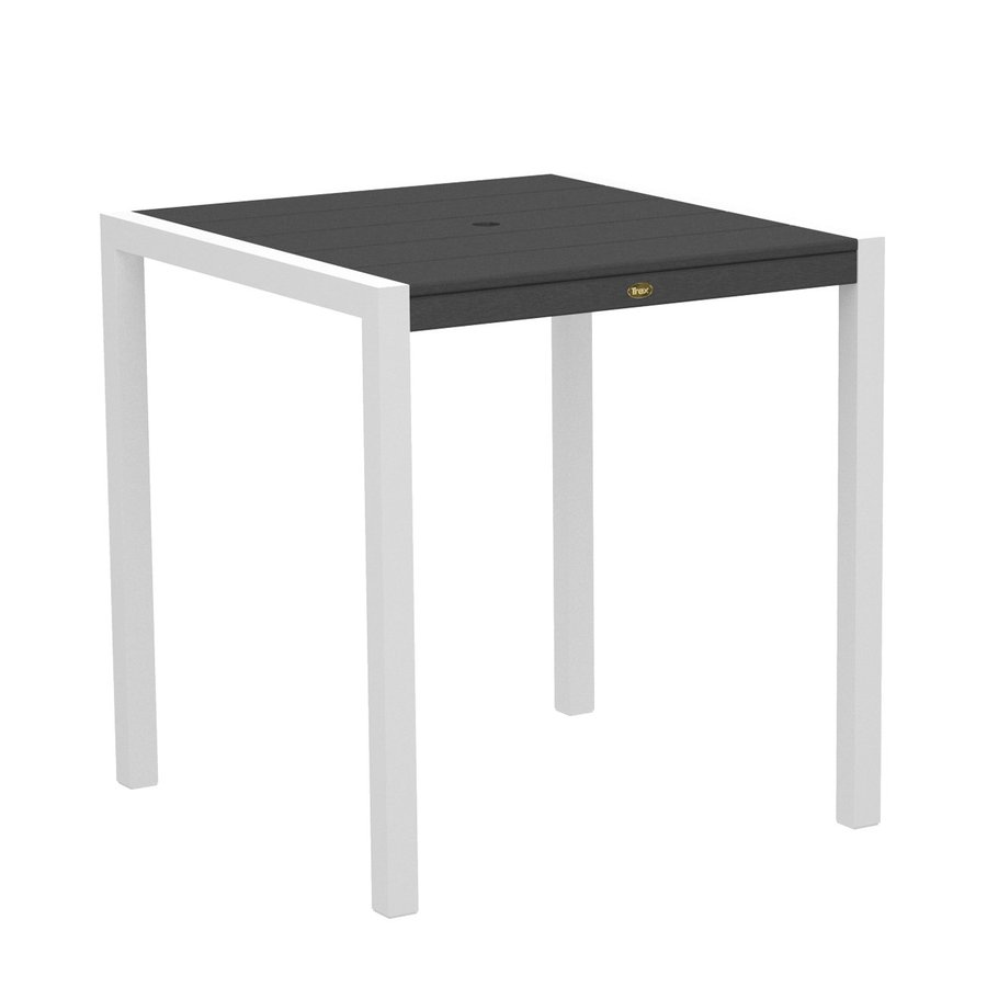 Trex Outdoor Furniture Surf City 35.18-in W x 35.18-in L Textured White/Stepping Stone Square Aluminum Bar Table