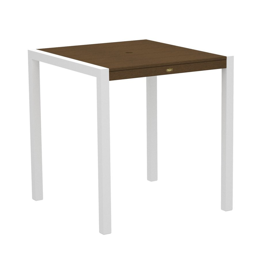 Trex Outdoor Furniture Surf City 35.18-in W x 35.18-in L Textured White/Tree House Square Aluminum Bar Table