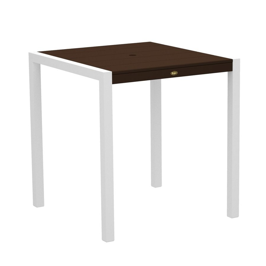 Trex Outdoor Furniture Surf City 35.18-in W x 35.18-in L Textured White/Vintage Lantern Square Aluminum Bar Table
