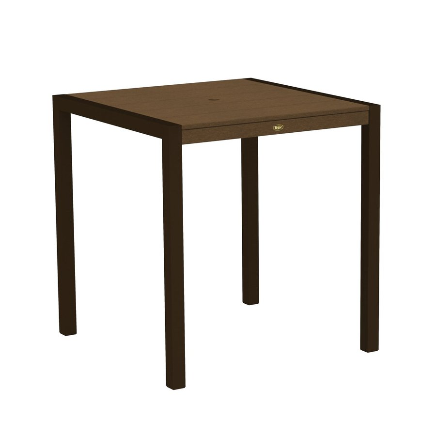 Trex Outdoor Furniture Surf City 35.18-in W x 35.18-in L Textured Bronze/Tree House Square Aluminum Bar Table