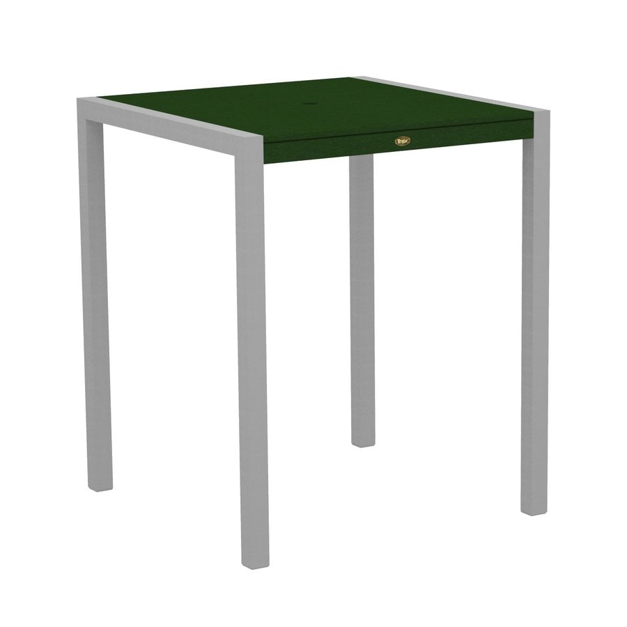 Trex Outdoor Furniture Surf City 35.18-in W x 35.18-in L Textured Silver/Rainforest Canopy Square Aluminum Bar Table