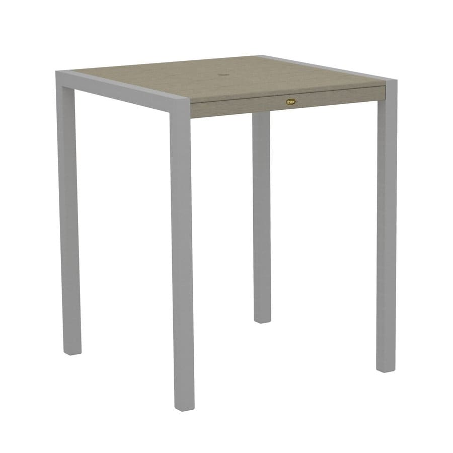 Trex Outdoor Furniture Surf City 35.18-in W x 35.18-in L Textured Silver/Sand Castle Square Aluminum Bar Table