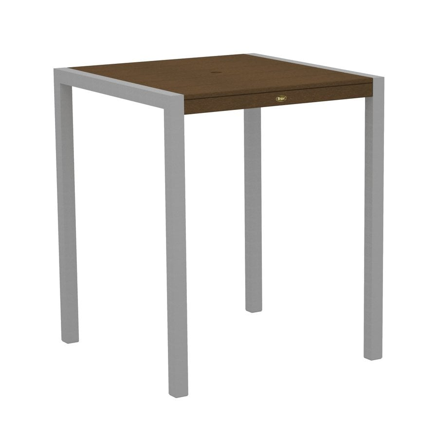 Trex Outdoor Furniture Surf City 35.18-in W x 35.18-in L Textured Silver/Tree House Square Aluminum Bar Table