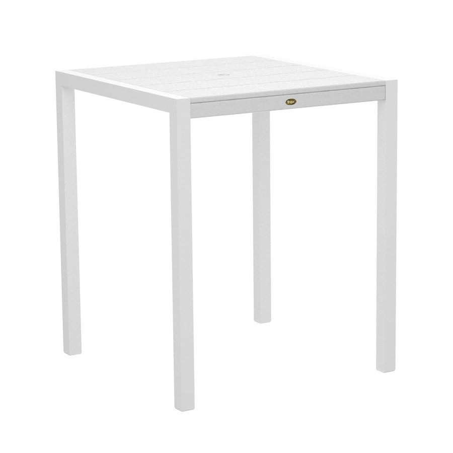 Trex Outdoor Furniture Surf City 35.18-in W x 35.18-in L Textured White/Classic White Square Aluminum Bar Table