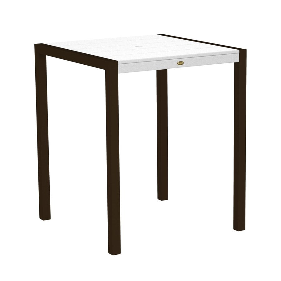 Trex Outdoor Furniture Surf City 35.18-in W x 35.18-in L Textured Bronze/Classic White Square Aluminum Bar Table