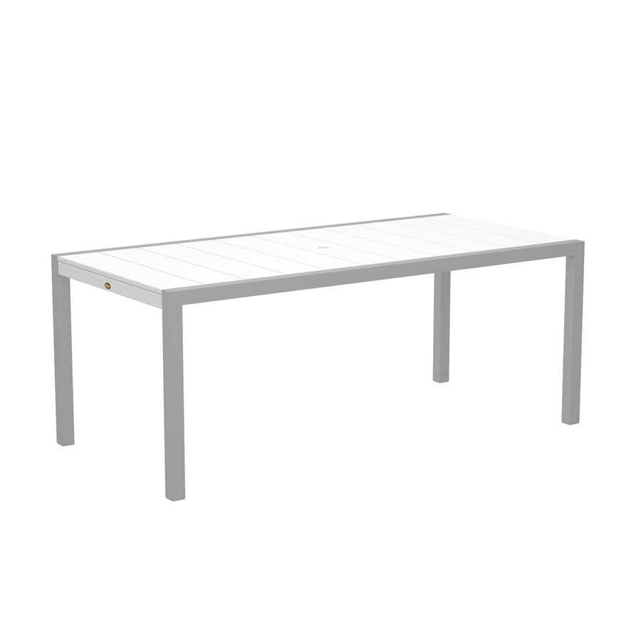 Trex Outdoor Furniture Surf City 35.18-in W x 73.12-in L Textured Silver/Classic White Rectangle Aluminum Dining Table