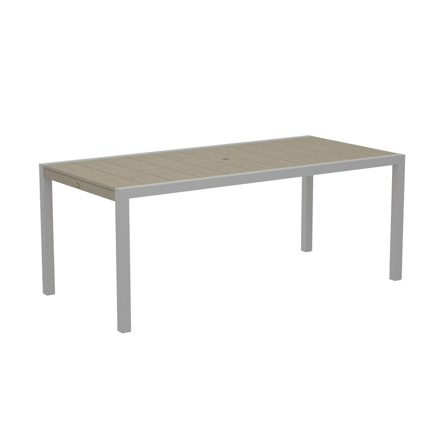 Trex Outdoor Furniture Surf City 35.18-in W x 73.12-in L Textured Silver/Sand Castle Rectangle Aluminum Dining Table