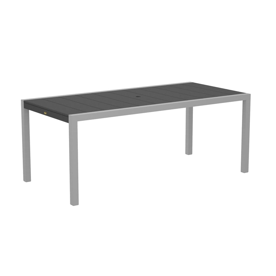 Trex Outdoor Furniture Surf City 35.18-in W x 73.12-in L Textured Silver/Stepping Stone Rectangle Aluminum Dining Table