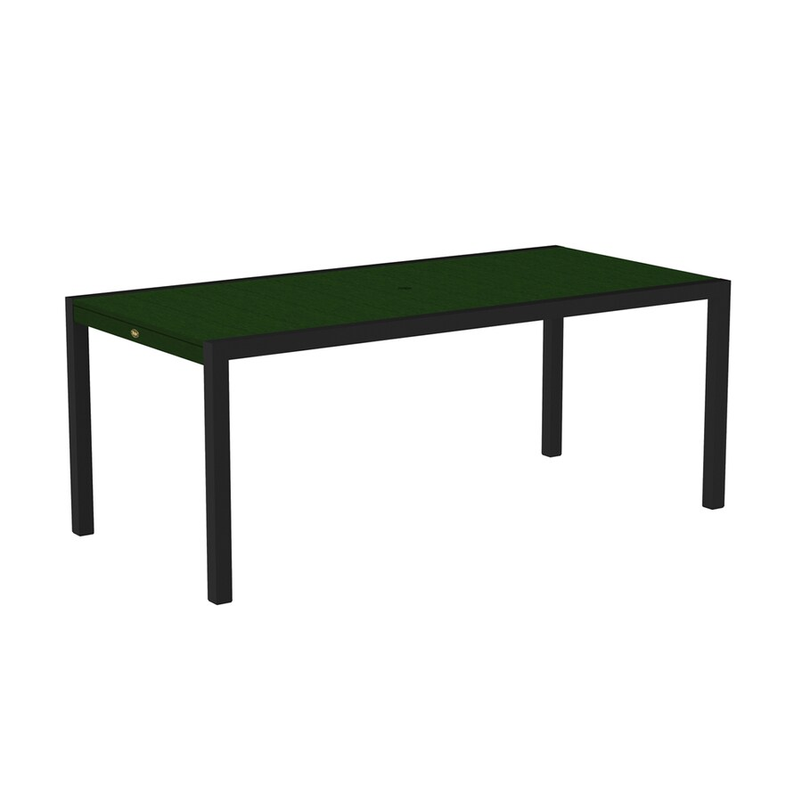 Trex Outdoor Furniture Surf City 35.18-in W x 73.12-in L Textured Black/Rainforest Canopy Rectangle Aluminum Dining Table