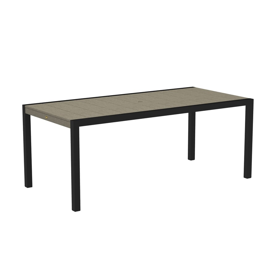 Trex Outdoor Furniture Surf City 35.18-in W x 73.12-in L Textured Black/Sand Castle Rectangle Aluminum Dining Table