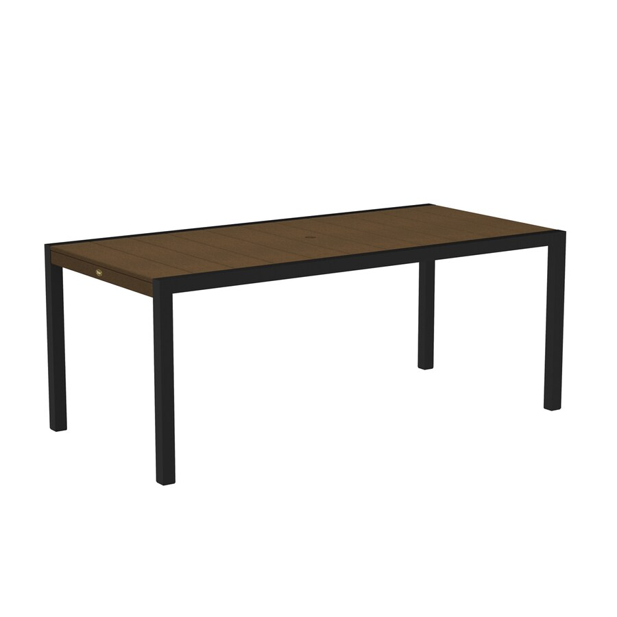 Trex Outdoor Furniture Surf City 35.18-in W x 73.12-in L Textured Black/Tree House Rectangle Aluminum Dining Table