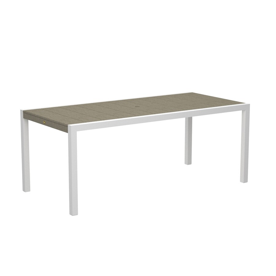 Trex Outdoor Furniture Surf City 35.18-in W x 73.12-in L Textured White/Sand Castle Rectangle Aluminum Dining Table