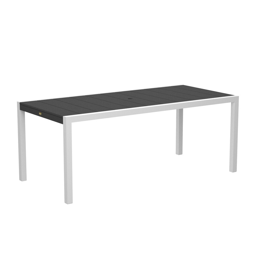 Trex Outdoor Furniture Surf City 35.18-in W x 73.12-in L Textured White/Stepping Stone Rectangle Aluminum Dining Table