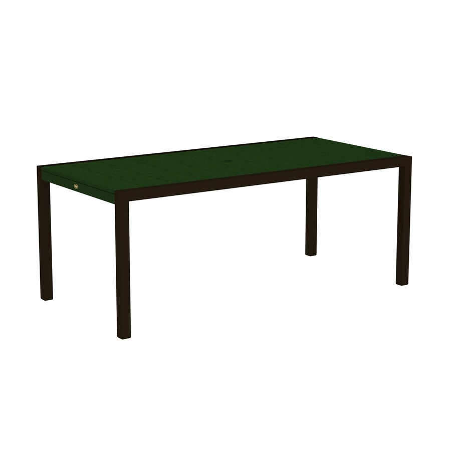 Trex Outdoor Furniture Surf City 35.18-in W x 73.12-in L Textured Bronze/Rainforest Canopy Rectangle Aluminum Dining Table