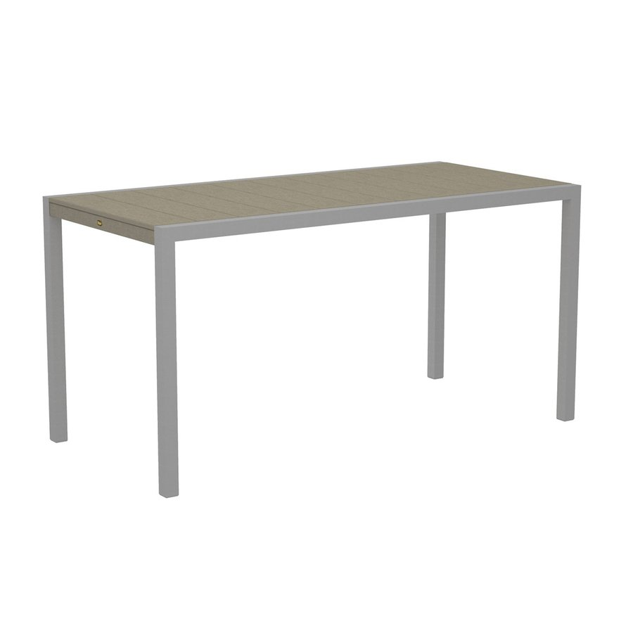 Trex Outdoor Furniture Surf City 35.18-in W x 73.12-in L Textured Silver/Sand Castle Rectangle Aluminum Bar Table