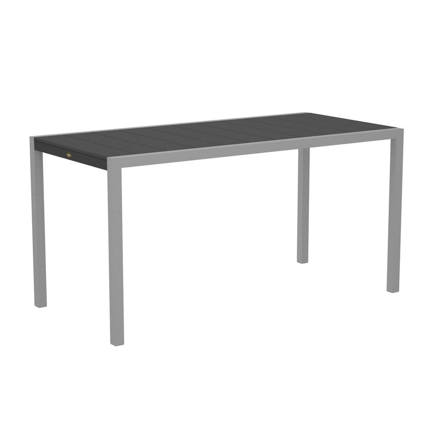Trex Outdoor Furniture Surf City 35.18-in W x 73.12-in L Textured Silver/Stepping Stone Rectangle Aluminum Bar Table