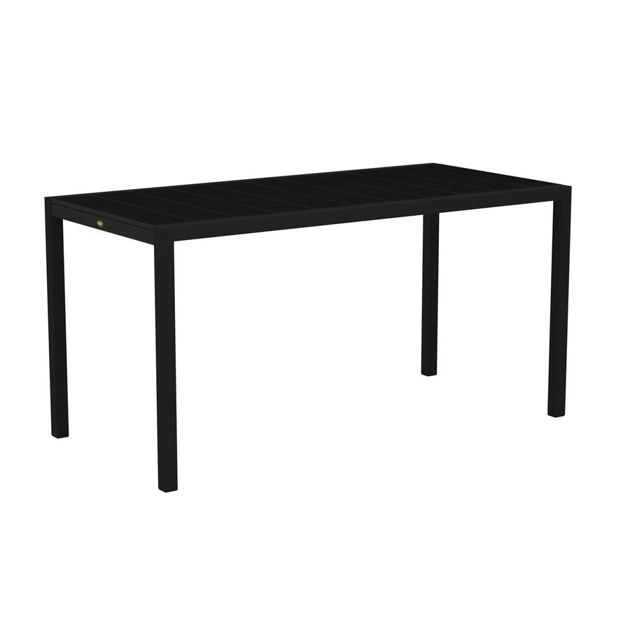 Trex Outdoor Furniture Surf City 35.18-in W x 73.12-in L Textured Black/Charcoal Black Rectangle Aluminum Bar Table
