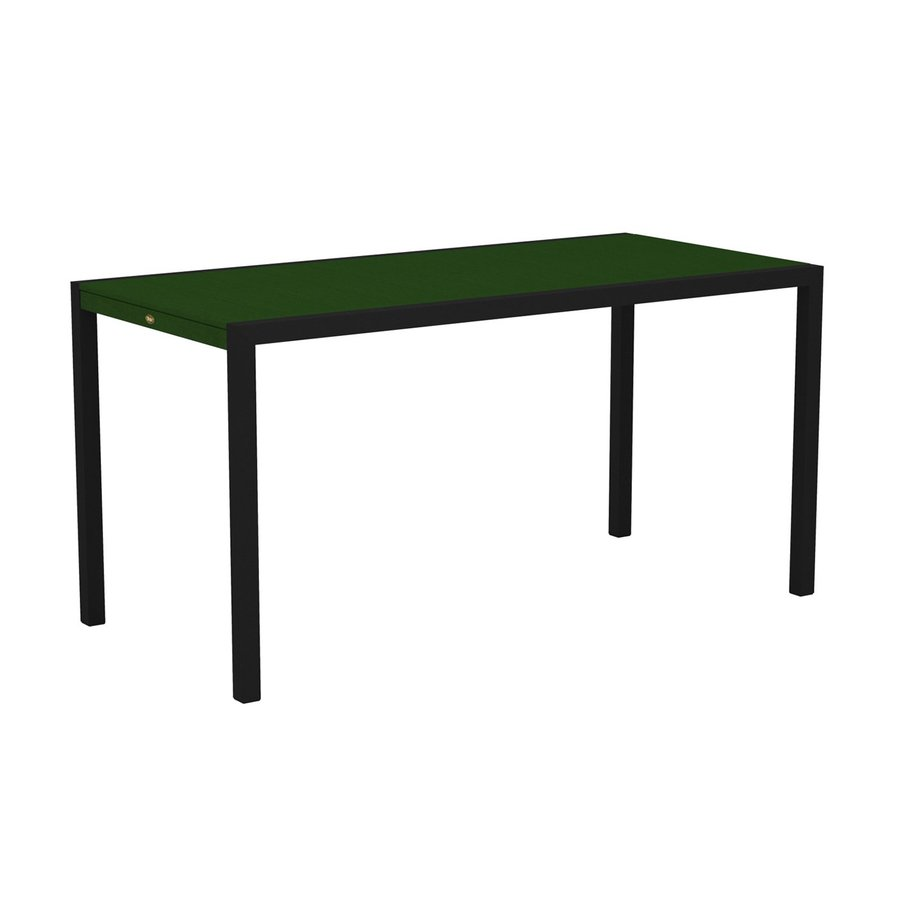 Trex Outdoor Furniture Surf City 35.18-in W x 73.12-in L Textured Black/Rainforest Canopy Rectangle Aluminum Bar Table