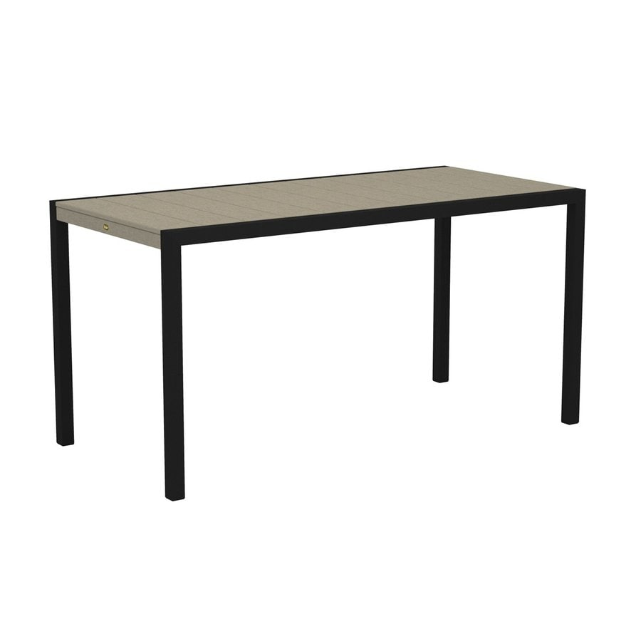 Trex Outdoor Furniture Surf City 35.18-in W x 73.12-in L Textured Black/Sand Castle Rectangle Aluminum Bar Table