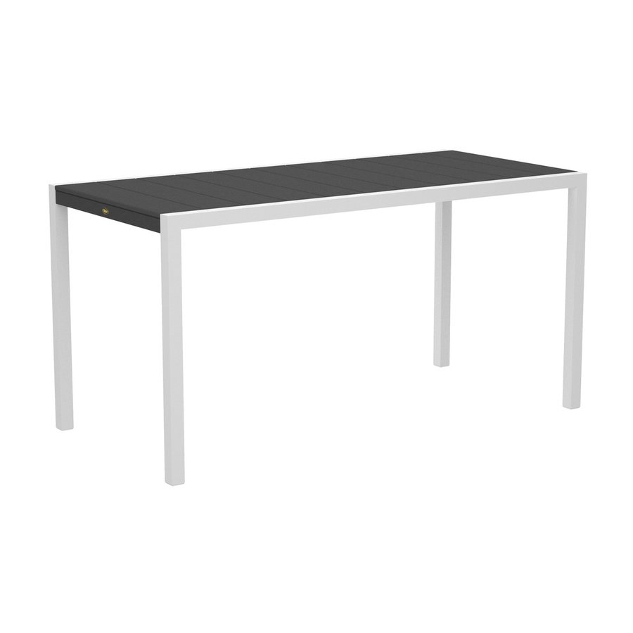 Trex Outdoor Furniture Surf City 35.18-in W x 73.12-in L Textured White/Stepping Stone Rectangle Aluminum Bar Table
