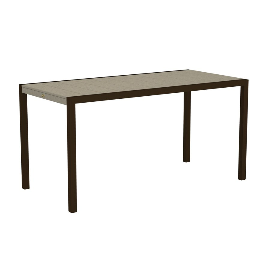 Trex Outdoor Furniture Surf City 35.18-in W x 73.12-in L Textured Bronze/Sand Castle Rectangle Aluminum Bar Table