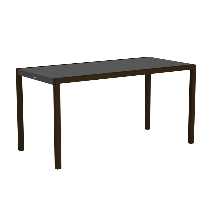 Trex Outdoor Furniture Surf City 35.18-in W x 73.12-in L Textured Bronze/Stepping Stone Rectangle Aluminum Bar Table