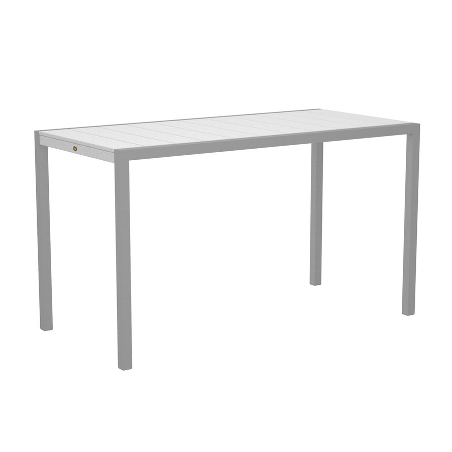 Trex Outdoor Furniture Surf City 35.18-in W x 73.12-in L Textured Silver/Classic White Rectangle Aluminum Bar Table