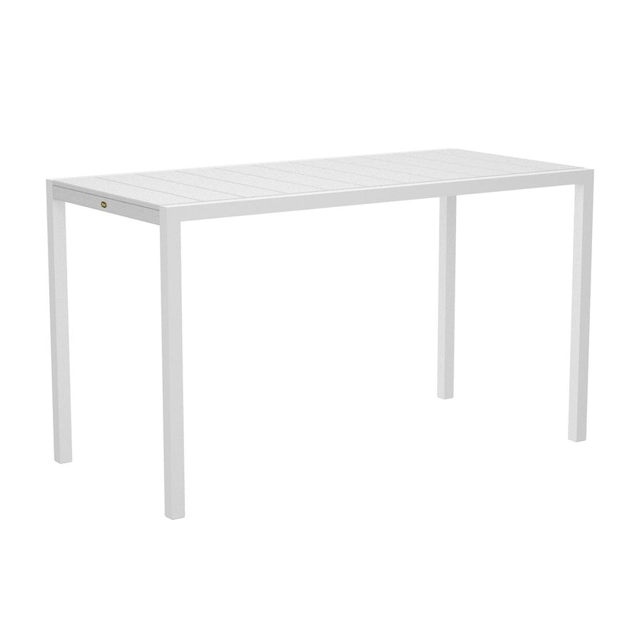 Trex Outdoor Furniture Surf City 35.18-in W x 73.12-in L Textured White/Classic White Rectangle Aluminum Bar Table