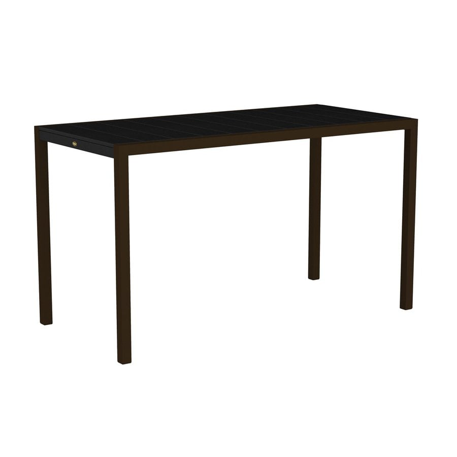 Trex Outdoor Furniture Surf City 35.18-in W x 73.12-in L Textured Bronze/Charcoal Black Rectangle Aluminum Bar Table