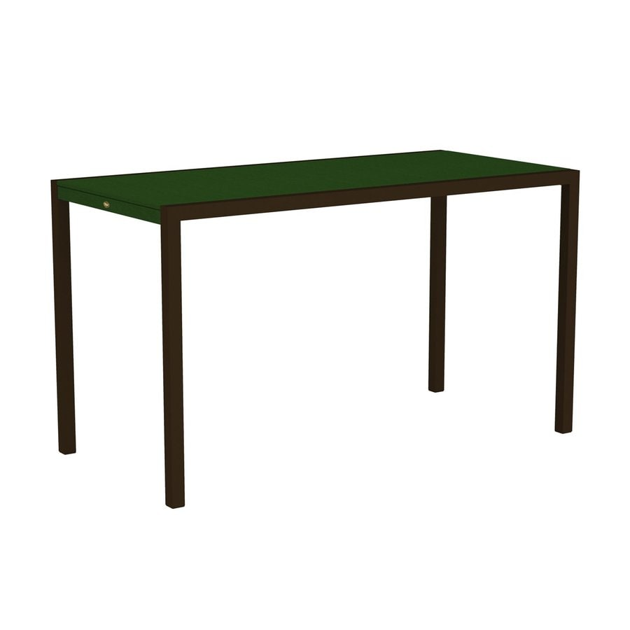 Trex Outdoor Furniture Surf City 35.18-in W x 73.12-in L Textured Bronze/Rainforest Canopy Rectangle Aluminum Bar Table