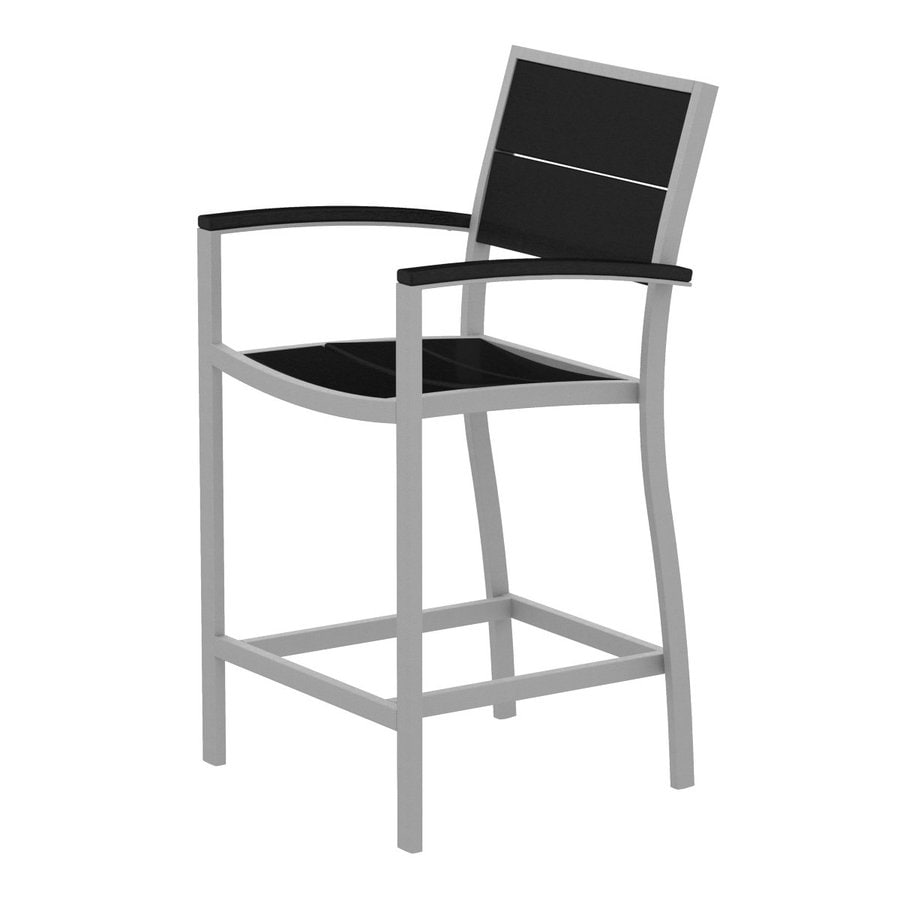 Trex Outdoor Furniture Surf City Textured Silver/Charcoal Black Aluminum Patio Barstool Chair