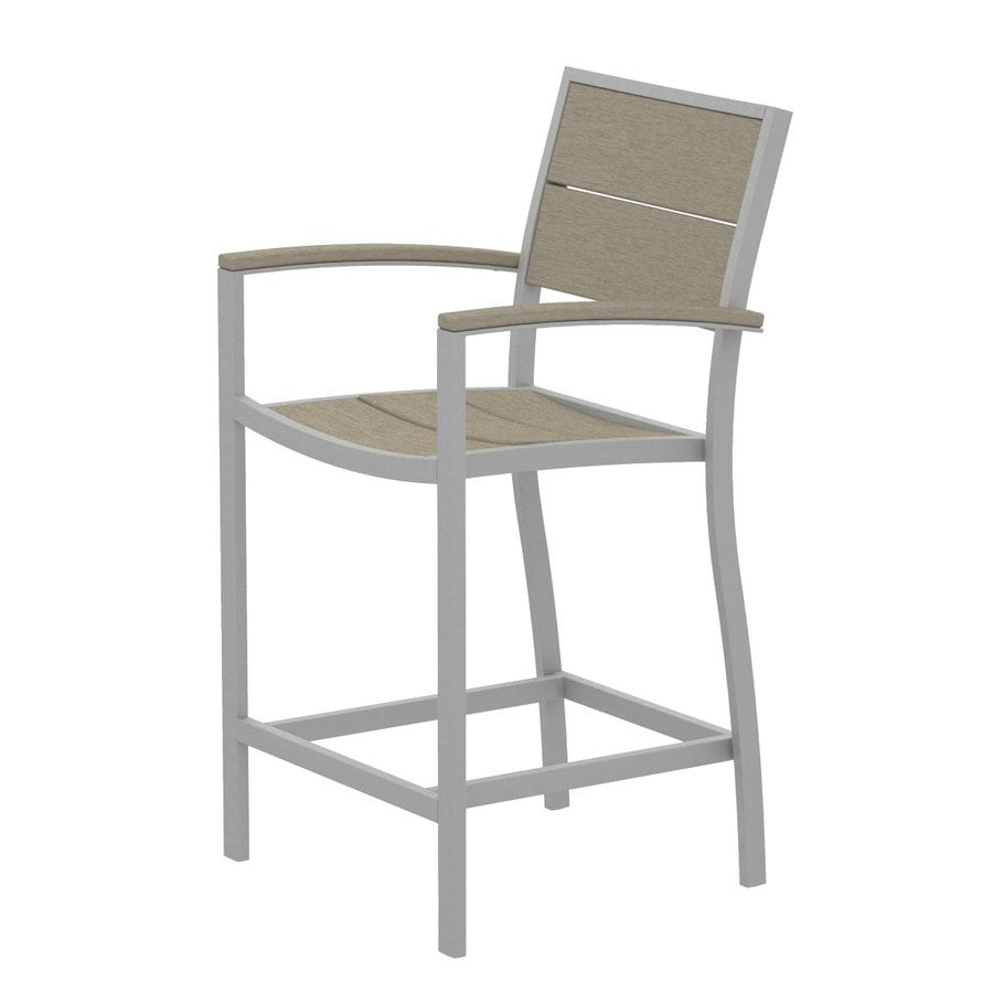 Trex Outdoor Furniture Surf City Textured Silver/Sand Castle Aluminum Patio Barstool Chair